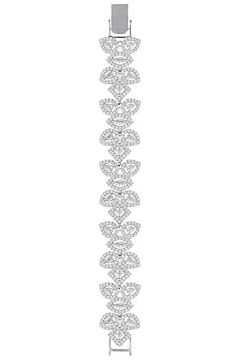 Silver plated white rhodium diamond bracelet by Aster