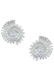 Silver plated white rhodium diamond stud earrings by Aster