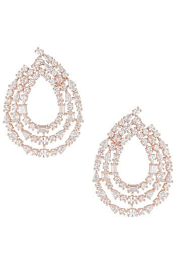 Rose gold plated 3 line diamond earrings by Aster
