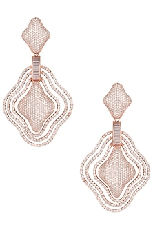 Rose gold plated full pave diamond earrings by Aster