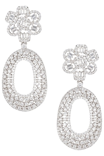 Silver plated white rhodium faux diamond long earring by Aster