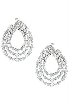 Silver plated 3 line faux solitaire diamond earrings by Aster