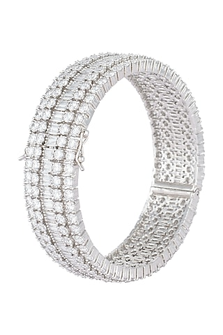 Silver plated faux round diamond baguette bangle by Aster