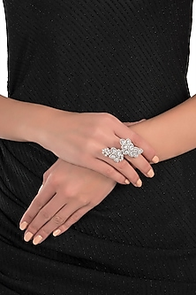 Silver plated two finger floral diamond ring by Aster