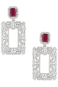 Silver plated diamond and ruby earrings by Aster