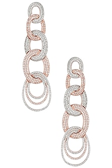 Rose gold and silver plated diamond earrings by Aster