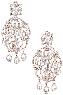 Rose gold plated floral chandelier diamond earrings by Aster