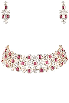 Gold plated diamond and ruby necklace set by Aster