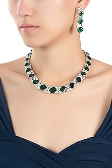 Silver plated solitaire diamond and emerald necklace set by Aster