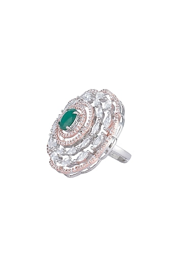 Silver plated faux diamond and emerald ring by Aster
