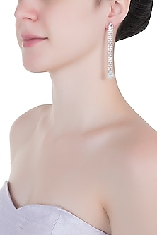 Silver plated diamond long earrings by Aster