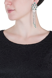 Silver plated faux emerald drop and diamond long earrings by Aster