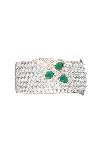 Silver plated faux diamond and emerald bracelet by Aster