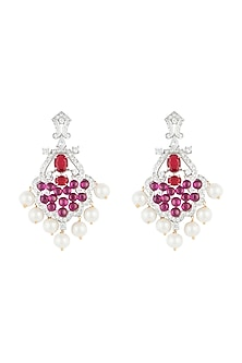 Silver plated faux ruby and pearl earrings by Aster