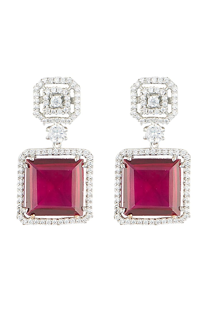 Silver plated faux ruby and diamond drop earrings by Aster