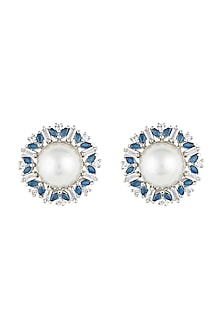 Silver plated faux pearls stud earrings by Aster