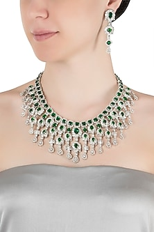 Silver plated faux emerald and diamonds necklace set by Aster