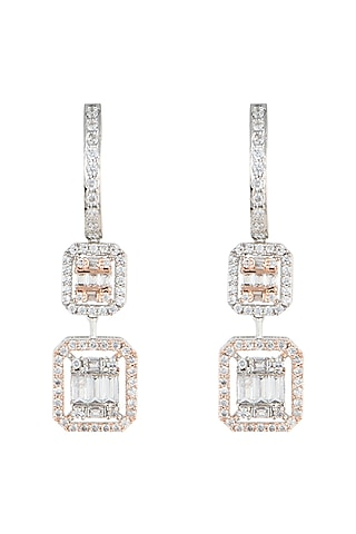 Silver plated faux diamonds earrings by Aster