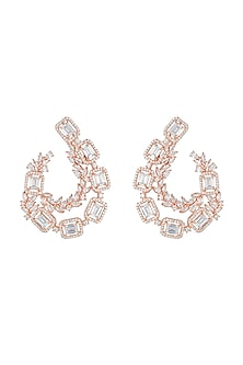 Rose gold plated faux diamond earrings by Aster
