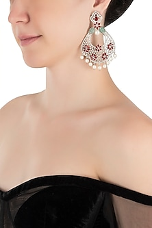 Silver plated faux diamond and ruby dangler earrings by Aster