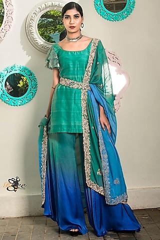 Green Embroidered Kurta Set by Architha Narayanam