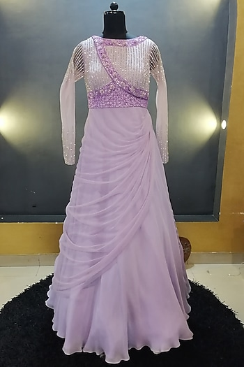 Lavender Embroidered Gown by Architha Narayanam