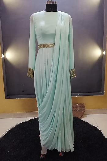 Sea Green Embroidered Saree Gown With Belt by Architha Narayanam