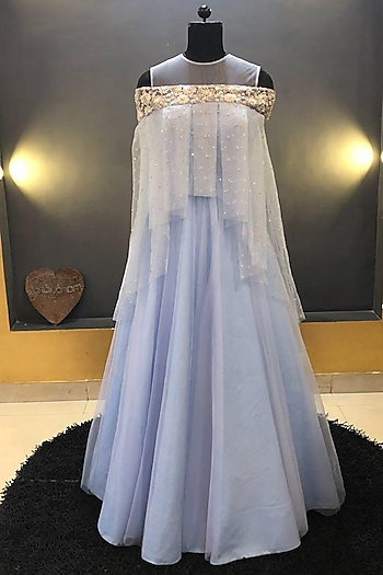 Blue Embroidered Gown With Cape by Architha Narayanam