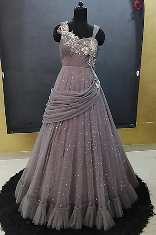 Grey Embroidered Gown by Architha Narayanam