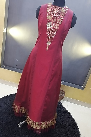 Maroon Embroidered Maxi Dress by Architha Narayanam