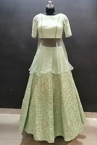 Mint Green Embroidered Lehenga Set by Architha Narayanam