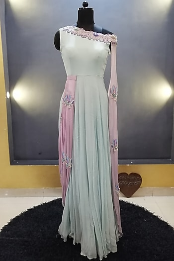 Sea Green Embroidered Asymmetric Gown by Architha Narayanam