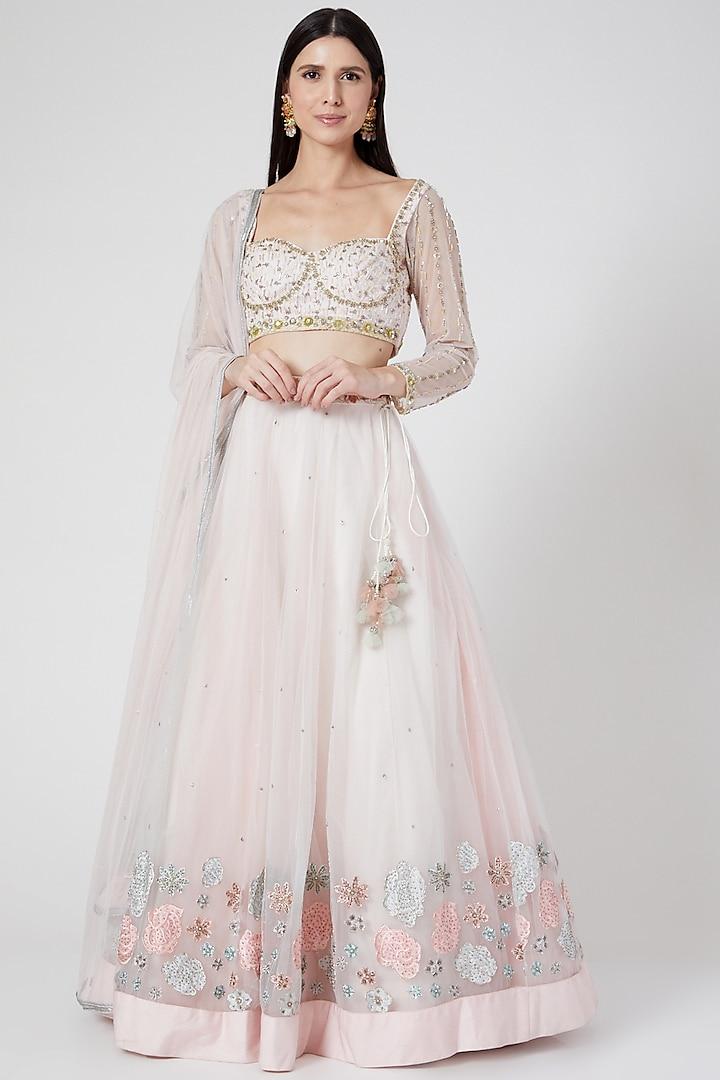 Soft Pink Embroidered Lehenga Set by Architha Narayanam