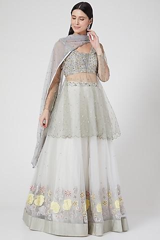 Grey & White Embroidered Lehenga Set by Architha Narayanam