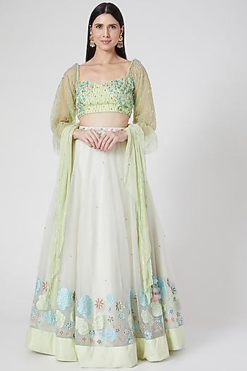 Lime Green Embroidered Lehenga Set by Architha Narayanam
