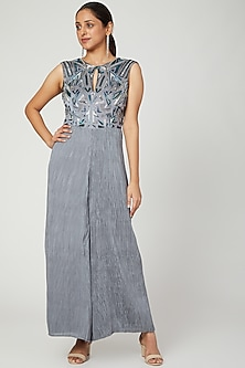 Grey Embroidered Bodice & Jumpsuit by Architha Narayanam