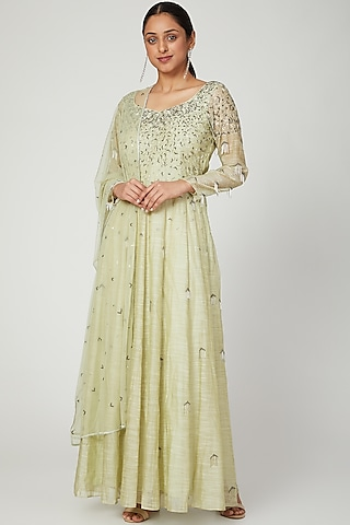 Olive Green Embroidered Gown With Dupatta by Architha Narayanam