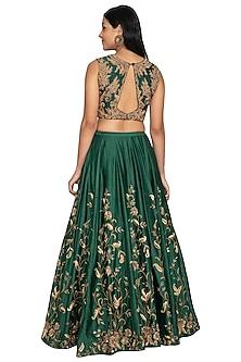 Bottle Green Embroidered Lehenga Set by Architha Narayanam