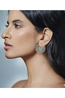 Gold Finish Stud Earrings With Swarovski Crystals by Eina Alhuwalia X Confluence