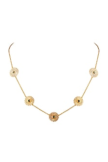 Gold Finish Jaal Disc Necklace With Swarovski Crystals by Eina Alhuwalia X Confluence