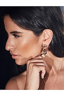 Gold Finish Jaal Earrings With Swarovski Crystals by Eina Alhuwalia X Confluence