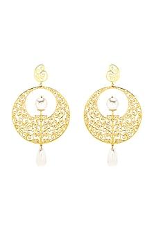 Gold Finish Moon Gate Earrings With Swarovski Crystals by Eina Ahluwalia X Confluence