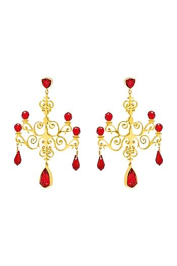 Gold Finish Chandelier Earrings With Swarovski Crystals by Eina Ahluwalia X Confluence