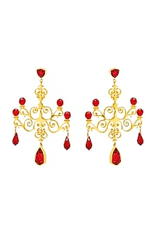 Gold Finish Chandelier Earrings With Swarovski Crystals by Eina Ahluwalia X Confluence-SHOP BY STYLE