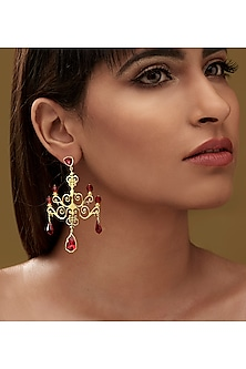 Gold Finish Chandelier Earrings With Swarovski Crystals by Eina Ahluwalia X Confluence