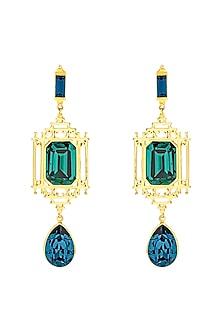 Gold Finish Lantern Earrings by Eina Ahluwalia X Swarovski