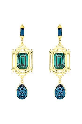 Gold Finish Lantern Earrings With Swarovski Crystals by Eina Ahluwalia X Confluence
