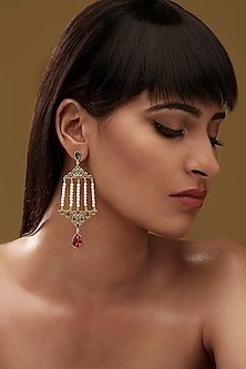 Gold Finish Double Vine Earrings With Swarovski Crystals by Eina Ahluwalia X Confluence