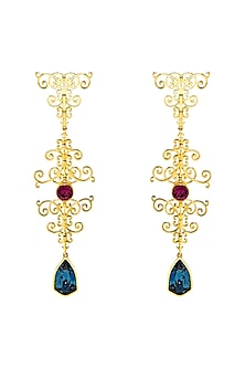 Gold Finish Sign Hanger Earrings With Swarovski Crystals by Eina Ahluwalia X Confluence