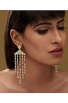 Gold Finish Vine Earrings With Swarovski Crystals by Eina Ahluwalia X Confluence